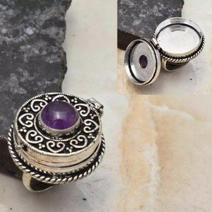 Amethyst 925 Sterling Silver Poison Ring Sz 8.5